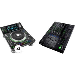 Denon DJ Dual SC5000M Prime Media Players and X1800 Prime Club DJ Mixer Kit