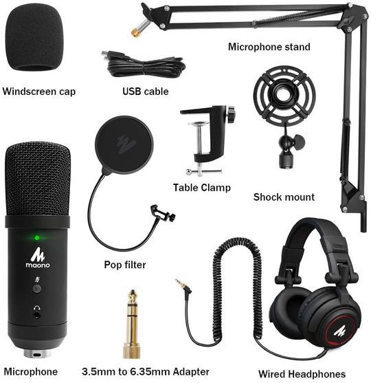 Maono AU-PM401H USB Microphone with Studio Headphone Set