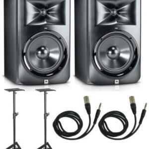 JBL LSR308 Bundle Studio Monitor Pair ,Stands & XLR Cables