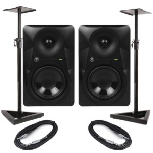 Mackie MR624 Bundle with GSM-50 Stands & Cable