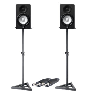 Yamaha HS5 Pair (Black) Bundle with Stand and XLR Cable