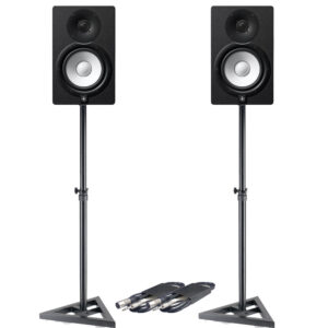 Yamaha HS7 Pair (Black) Bundle with Stand and XLR Cable
