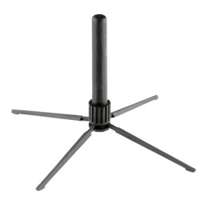 Unique, compact and extremely light flute stand with 4-leg base for Böhm flutes and/or cross flutes. Plastic peg diameter 18 mm