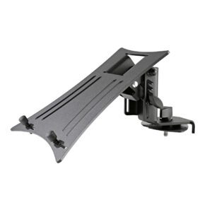 Appealing laptop rest for »Spider Pro« and »Baby Spider Pro«. The laptop rest is mounted on the upper end of the keyboard stand »Spider Pro« or »Baby Spider Pro« by means of a wing nut and retaining plate.