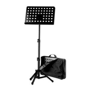 K&M Black Orchestra Music Stand with Perforated Desk & Case